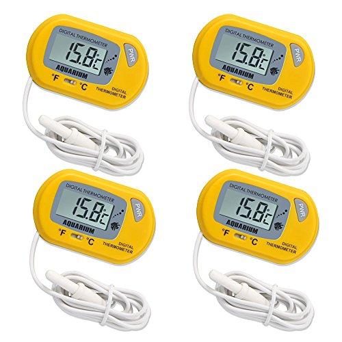 ILBUY LCD Digital Aquarium Thermometer Fish Tank Water Terrarium Temperature (4 Pack yellow)