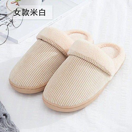 Fankou Automne Et Hiver Pantoufles En Coton De Couleur Unie Intérieure Antidérapante Chaude Paire De Chaussures Épaisses, 35-36, Ciel Bleu