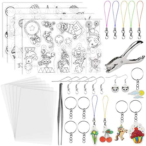 BigOtters Heat Shrink Sheet 72PCS Shrinky Art Film Paper Kit Include Clear Frosted Heat Shrinky PaperKeychains Ear Hooks Accessories for Adult Kid Creative DIY Handmade Craft School Project