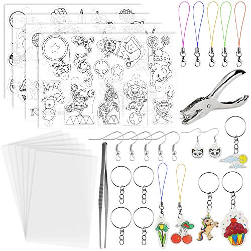 BigOtters Heat Shrink Sheet, 72PCS Shrinky Art Film Paper Kit Include Clear Frosted Heat Shrinky Paper with Keychains Ear Hooks Accessories for Adult Kid Creative DIY Handmade Craft School Project.