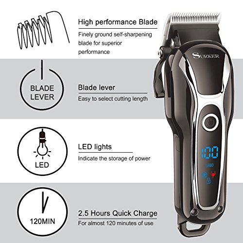 SURKER Pro Man's Grooming Haircut Kit Cordless Hair Clippers For Men Shaver Beard Trimmer Rechargeable With LCD Display Black Heavy