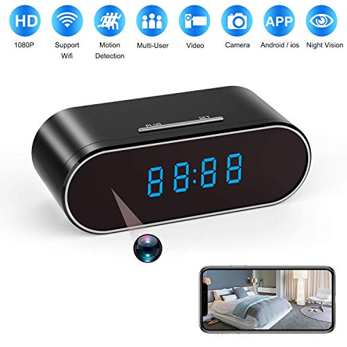 Spy Camera 1080P WiFi, Hidden Cameras Clock Video Recorder 140°Wide Angle Lens Wireless IP Camera for Indoor Home Security Monitoring Nanny Cam with Night Vision Motion Detection (2019 New Version)