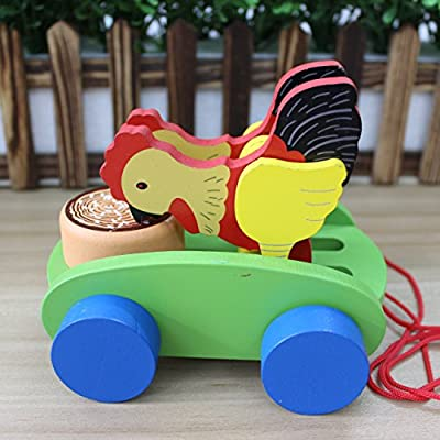 HappyToy Colorido juguete Gallo tirar de carros de madera ...
