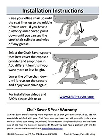 29d727bf396 Amazon.com  Chair Saver The Kit - Fix Your Sinking Office Chair in Under A  Minute!  Kitchen   Dining