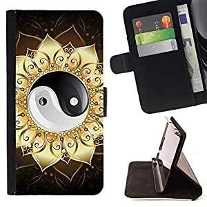 BETTY - FOR Samsung Galaxy Core Prime - Ying Yang Floral Sign - Style PU Leather Case Wallet Flip Stand Flap Closure Cover
