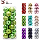 AMS Christmas Ball Plating Ornaments Tree Collection Holiday Parties Decoration (1.57''in/28ct,Green)