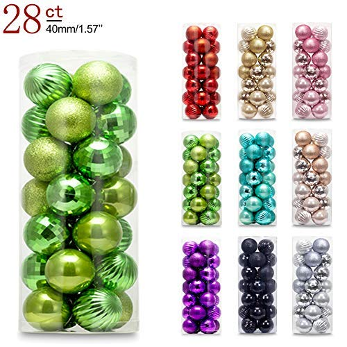 AMS 40mm/28ct Christmas Ball Mini Plating Ornaments Tree Collection for Holiday Parties Decoration (1.57,Green)
