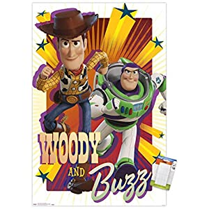 Trends International Disney Pixar Toy Story 4-Woody and Buzz Mount Wall Poster, 22.375″ x 34″, Poster & Mount Bundle