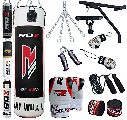 RDX 14pc Heavy Boxing 4ft 5ft Punch Bag Filled MMA Punching Training Gloves Kickboxing Bracket Ceiling Hook