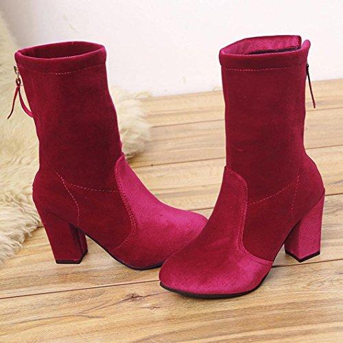 Botas Calientes De Invierno De Mujer Inkach | Zapatos De Tacón Martin De Tacón Alto | Botines Con Cremallera Roja