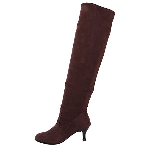 Myfilma Womens Wildleder Overknee Schuhe Block Middle Heels