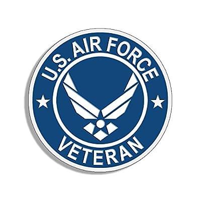 American Vinyl Round U.S. Air Force Veteran Sticker (USAF Bumper Airman Vet): Automotive