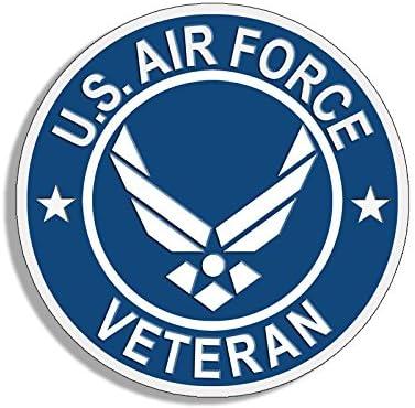 Air Force Veteran Sticker USAF Bumper Airman Vet American Vinyl Round U.S