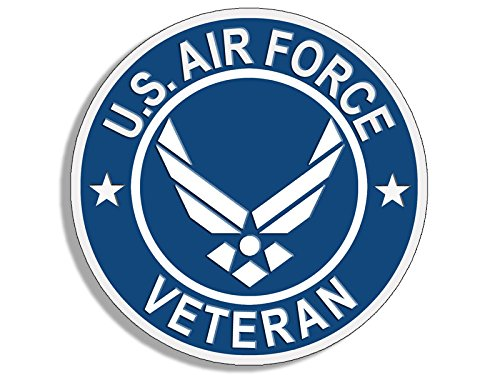 American Vinyl Round U.S. Air Force Veteran Sticker (USAF Bumper Vet)