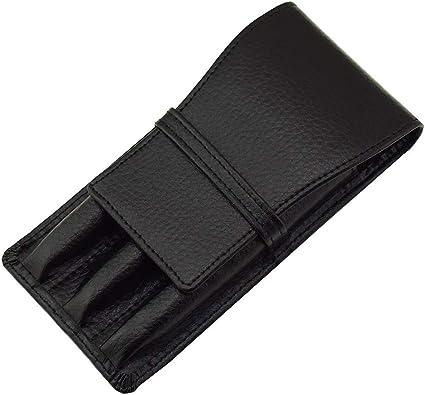 Estuche de piel con 3 ranuras para pluma estilográfica, color negro: Amazon.es: Oficina y papelería