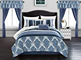 20 Piece Comforter Set Chic Home Vivaldi 20 Piece Comforter Set Medallion Quilted Embroidered Design Complete Bag Bedding - Sheets Decorative Pillows Shams Window Treatments Curtains Included, Queen Blue