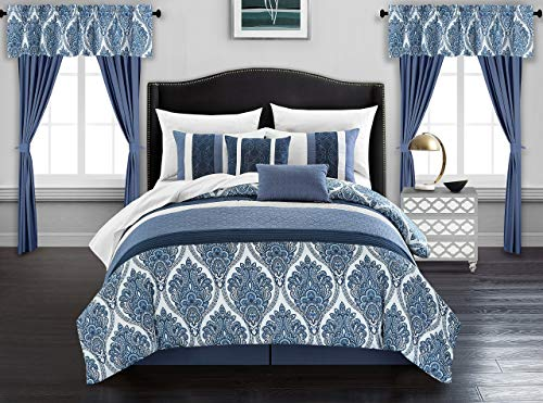 Chic Home Vivaldi 20 Piece Comforter Set Medallion Quilted Embroidered Design Complete Bag Bedding - Sheets Decorative Pillows Shams Window Treatments Curtains Included, Queen Blue