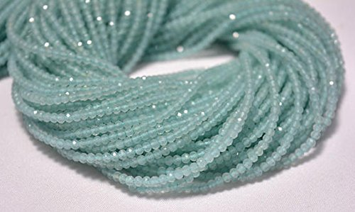 2.5mm Aqua Chalcedony Beads, Micro Faceted Rondelles Beads, Chalcedony Rondelles, Gemstone beads 12.5 Inch Strand