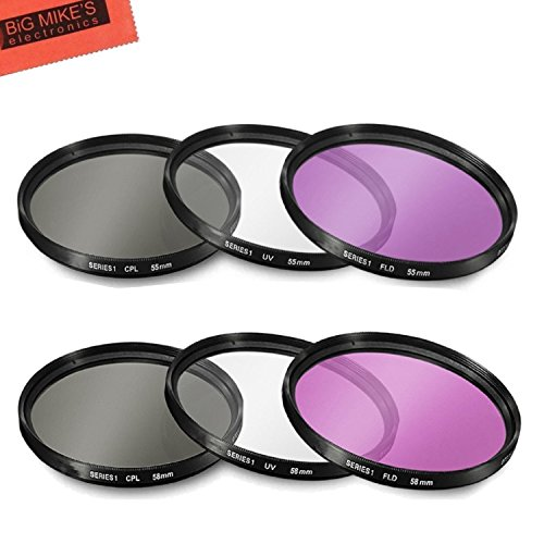 55mm and 58mm Multi-Coated 3 Piece Filter Kit (UV-CPL-FLD) for Nikon D3500, D5600, D3400 DSLR Camera with Nikon 18-55mm f/3.5-5.6G VR AF-P DX and Nikon 70-300mm f/4.5-6.3G ED
