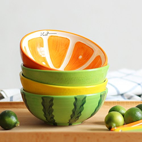 LOHOME A Lot 4 PCS 13CM Diameter Japan Creative Lovely Colorful Fruit Living Bowl Cute Soup Bowl Lively Rice Bowl Deluxe Pure Hand-painted Ceramic Bowl Children Suit Tableware
