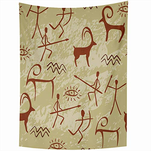 (Ahawoso Tapestry 60x80 Inches Tan Indian Cave Painting Brown Western Ancient Hand Snake Southwestern Tribal Bow Wall Hanging Home Decor Tapestries for Living Room Bedroom)