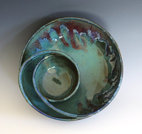 pottery chip and dip, handmade ceramic dish, ceramics and pottery, pottery bowl, handthrown stoneware