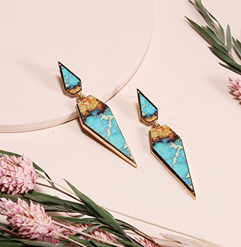 Bohemian Wood And Marble Effect Pentagon Shaped Drop Statement Earrings by BONALUNA (Image #4)