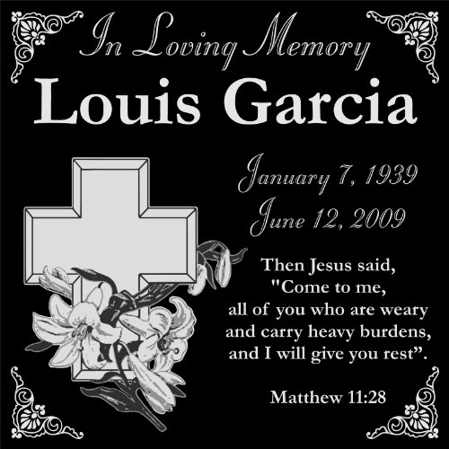 (Lazzari Collections Customized Personalized Christian Personal Memorial 12x12 Inch Engraved Granite Grave Marker Headstone with Lily and Cross LG1)