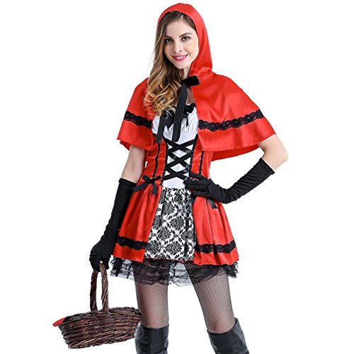 Boleyn Little Red Riding Hood Costume Sexy Halloween Fairy Tale Dress for Women (Sexy Evil Fairy Costumes)
