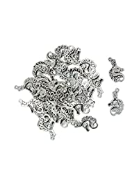 Fenteer 30Pcs Jewelry Pendant Fashion Findings Silver Plated Charm Vintage Alloy Unicorn for DIY Jewelry Making Craved Curved Floral Animal Head/Body Pick