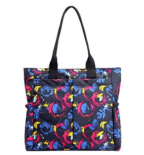 Price comparison product image Nylon Water Resistant Multi Pockets Large Lightweight Tote Bag Shoulder Bag for Gym Hiking Picnic Travel Beach Waterproof Tote Bags (Colorful Whirlpool HB)