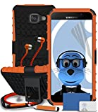 Samsung Galaxy A5 (2016) SM-A510F Orange Shock Proof Rugged Hard Case with Viewing Stand - LCD Screen Protector - Retractable Mini Stylus Pen - 3.5mm ZIPPER Stereo Hands Free HeadPhones with Mic