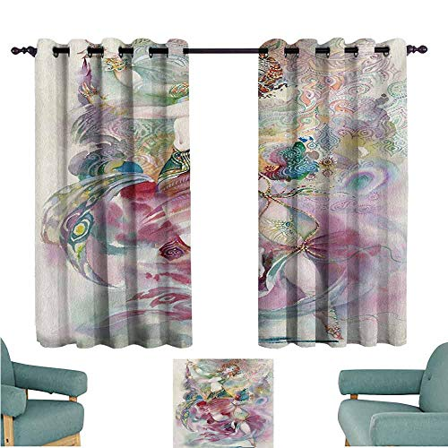 DONEECKL Customized Curtains Watercolor Oriental Dance Theme Young Girl Performing in Traditional Costume Fantasy Figure Blackout Draperies for Bedroom Window W63 xL45 -