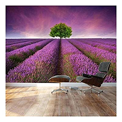 Lone Tree on Beautiful Lavender Field Road - Landscape - Wall Mural, Removable Sticker, Home Decor - 66x96 inches