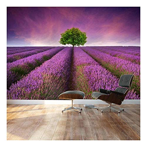 Lone Tree on Beautiful Lavender Field Road Landscape Wall Mural