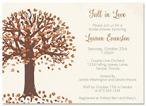 Autumn Bridal Shower Invitations Fall Wedding Invites Rustic Brown Gold Ivory Leaves Tree Fall In Love Personalized (10 count)