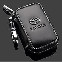 T-KB Toyota Premium cuero negro llavero del coche titular de la moneda cremallera caso bolsa de cartera remota