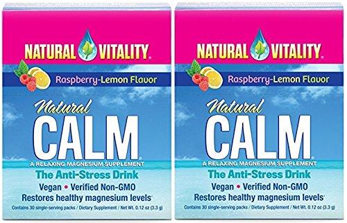 Natural Vitality Natural Calm Anti Stress Drink (Raspberry Lemon, 60 Packets) (Calm Magnesium Travel)