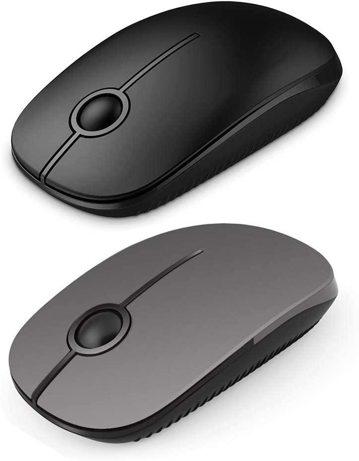 Jelly Comb 2.4G Slim Wireless Mouse Black+Gray -2 Pack