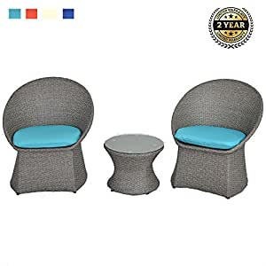 Patio 3PCs Bistro Wicker Balcony Outdoor Indoor Furniture Set Rattan Garden Decoration Chat/Coversation Set