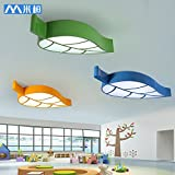 BGmdjcf Fashionable individual leaves children's room ceiling light minimalist led lamps bedroom cartoon kindergarten children's wear shop , lamps (green health -58CM- White LED