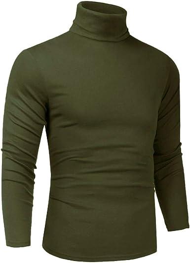 Men Slim Fit Lightweight Long Sleeve Pullover Top Turtleneck T Shirt