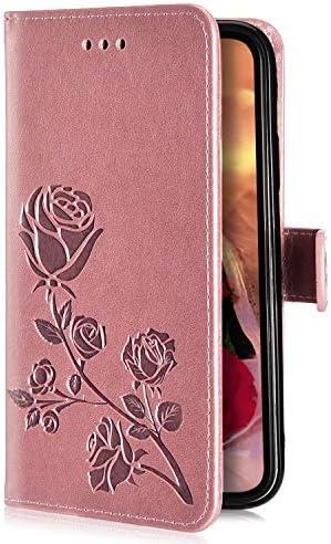 Uposao Kompatibel mit Samsung Galaxy J4 2018 Hülle Handyhülle Retro 3D Rose Blumen Muster Klapphülle Flip Case Cover Schutzhülle Leder Hülle Brieftasche Tasche Kartenfächer Magnet,Rose Gold