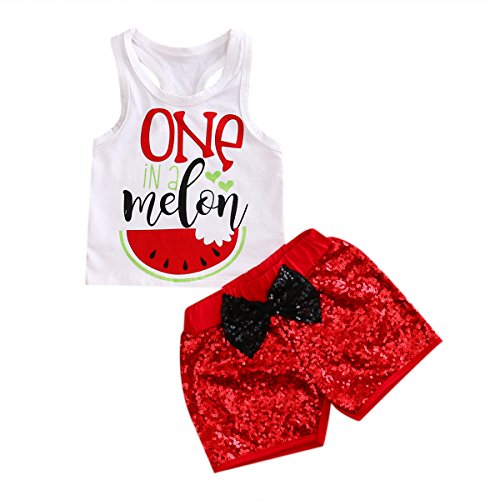 Imcute Baby Girl Clothes Sleeveless Watermelon Top Tshirt+Red Bow Sequins Short 2 Pcs (18-24 Months, -