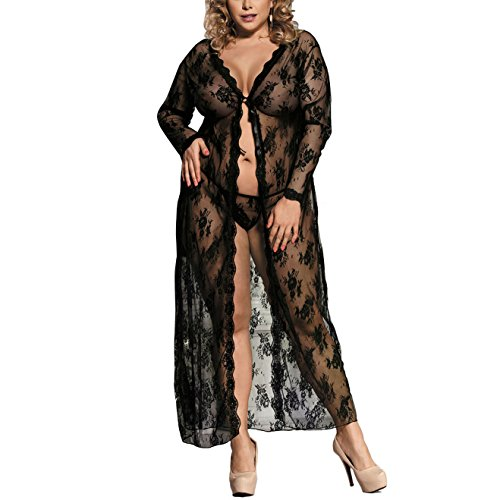 Zerolove Robe Women Plus Size Sexy Lace Cardigan Long Lingerie Set With G-String (Fabric Sheer Magic)