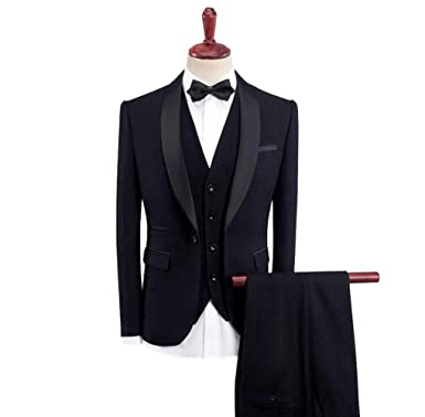 Musnow Mens Suits Tuxedo Wedding Suits 3 Pieces Tuxedos ...