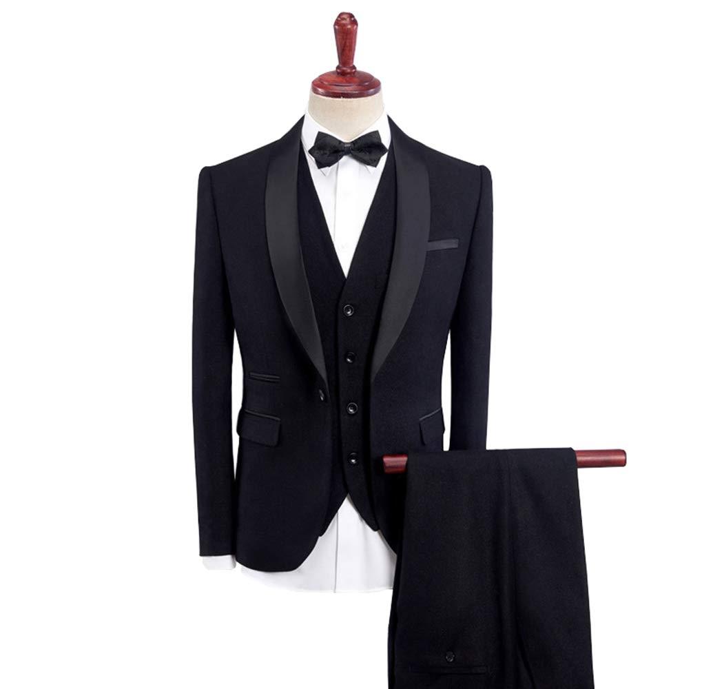 Fashionmy Men Suits Wedding Dresses Prom Evening Dress 3 Pieces Slim Fit Suits Bridegroom Black M