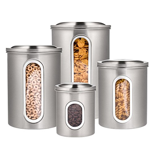 Deppon 4 Pieces Stainless Steel Canisters Set Airtight Storage Cans for Kitchen
