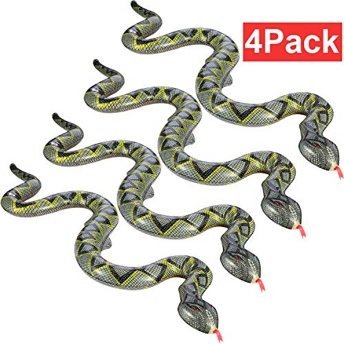 Hsei 4 Pieces Fake Snake Toy Inflatable Snake Floating Snake for Garden Pool Farm Party Decoration -