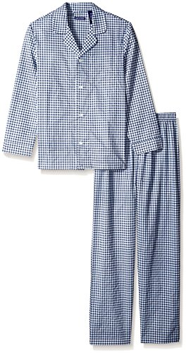 Blue Broadcloth Pajamas - Fruit of the Loom Men's Long Sleeve Broadcloth Pajama Set, Navy Check, 4X Large